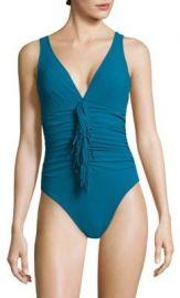 Karla Colletto Swim - Fresco Fringed Bodysuit blue at Saks Fifth Avenue