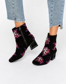 Kat Maconie Daphne Black Dancer Print Heeled Ankle Boots at asos com at Asos