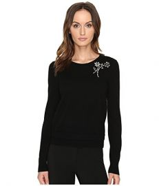 Kate Spade New York Embellished Brooch Sweater at 6pm black at 6pm