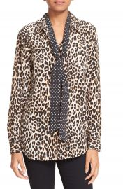 Kate Moss for Equipment  Slim Signature  Leopard Print Silk Shirt with Tie at Nordstrom
