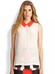 Kate Spade New York - Contrast-Collar Silk Top at Saks Fifth Avenue