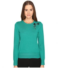 Kate Spade New York Embellished Brooch Sweater Emerald Ring at Zappos