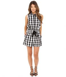 Kate Spade New York Gingham Romper Black Fresh White at 6pm