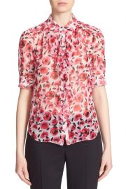 Kate Spade Rose Print Ruffle Silk Shirt at Nordstrom Rack