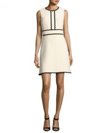 Kate Spade sleeveless scalloped tweed dress at Neiman Marcus