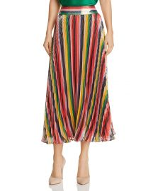 Katz Metallic Pleated Striped Midi Skirt at Bloomingdales