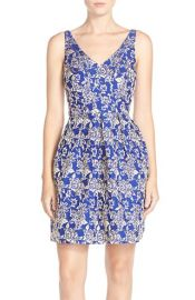 Kayaand Sloane Metallic Jacquard Fit and FlareDress at Nordstrom