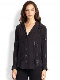 Keira Silk Metallic Tiger-Print Shirt at Saks Fifth Avenue
