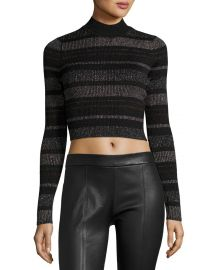 Kendall   Kylie Metallic Striped Open-Back Mock-Neck Crop Top at Neiman Marcus
