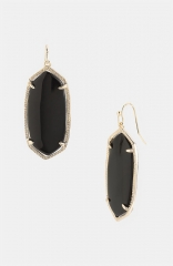 Kendra Scott Elle Boxed Small Oval Earrings in black at Nordstrom