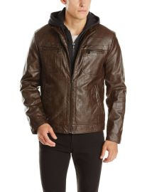 Kenneth Cole REACTION Menand39s Marble Faux-Leather Moto Jacket with Hood in Brown at Amazon