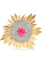 Kenneth Jay Lane - Gold and silver-tone crystal brooch at Net A Porter