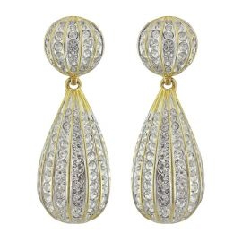 Kenneth Jay Lane Crystal Button Drop Earrings at Sophies Closet
