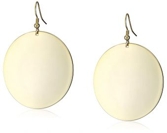 Kenneth Jay Lane Polished Gold Disc Earrings at Amazon