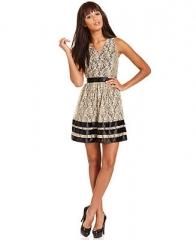 Kensie Dress Sleeveless V-Neck Lace A-Line - Dresses - Women - Macys at Macys