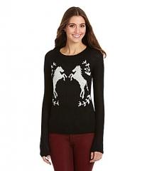 Kensie horse sweater in black at Dillards