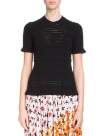 Kenzo Fitted Knit Sweater with Ruffled Trim at Neiman Marcus
