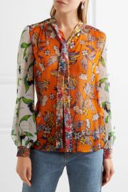 Kia pussy-bow floral-print silk-chiffon blouse by Tory Burch at Net A Porter