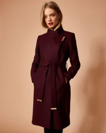 Kikiie Coat in Maroon by Ted Baker at Ted Baker