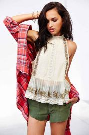 Kimchi Blue Camille High-Neck Lace Tank Top at Urban Outfitters