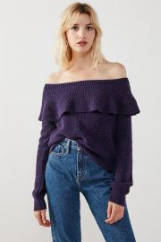 Kimchi Blue Chrissy Off-The-Shoulder Ruffle Sweater at Urban Outfitters