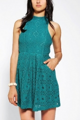Kimchi Blue Jackie High-Neck Lace Dress at Urban Outfitters