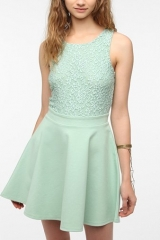 Kimchi Blue Lace-Top Skater Dress at Urban Outfitters