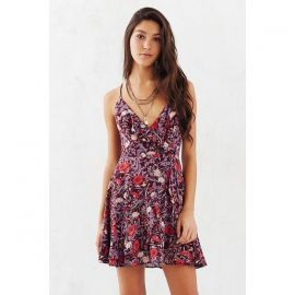 Kimchi Blue Sabina Ruffle Wrap Mini Dress in Purple at Urban Outfitters