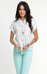 Kirra Short sleeve polka dot shirt at PacSun