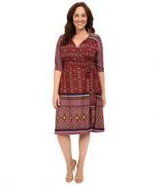 Kiyonna Beguiling Border Print Dress Batik Blossom at 6pm