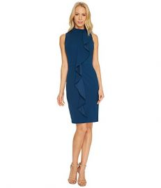 Knit Crepe Mock Neck Sheath Dress by Adrianna Papell at 6pm