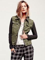 Knit Hooded Twill Jacket at Free People