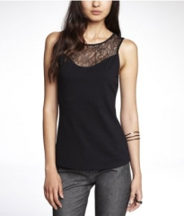 Knit lace yoke shell top at Express