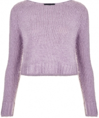 Knitted Fluffy Crop Jumper at Topshop