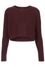 Knitted Rib Curve Crop Jumper at Topshop