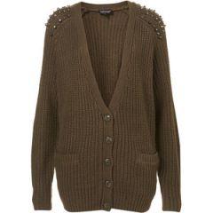 Knitted Stud Rib Cardigan at Topshop