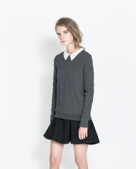 Knitted sweater with peter pan collar at Zara