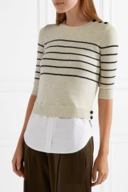 Knot cotton-paneled striped silk and cashmere-blend top by Veronica Beard at Net A Porter