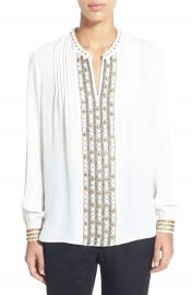 Kobi Halperin  Ingrid  Embellished Silk Split Neck Blouse at Nordstrom