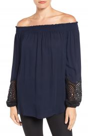 Kobi Halperin  Karalee  Lace Cuff Silk Off the Shoulder Blouse at Nordstrom