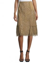 Kobi Halperin Daphne Laser-Cut Leather Skirt  Sandstone at Neiman Marcus