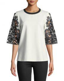 Kobi Halperin Dora Lace-Sleeve Blouse at Neiman Marcus