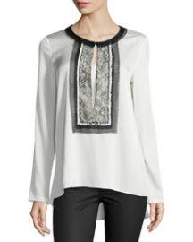 Kobi Halperin Iris Long-Sleeve Blouse W Lace Bib at Neiman Marcus