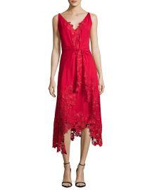 Kobi Halperin Sleeveless Silk Lace-Trim Midi Dress  Crimson at Neiman Marcus
