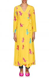 Koi-Print Silk Maxi Wrap Dress by We Are Leone at Barneys