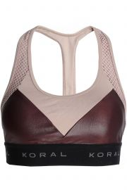 Koral Mesh-paneled two-tone coated stretch sports bra at The Outnet