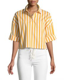 Kule The Keaton Striped Cropped Short-Sleeve Shirt at Neiman Marcus