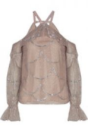 Kylie cold-shoulder embroidered tulle halterneck top at The Outnet