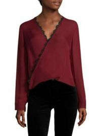 L AGENCE Rosario Lace Trimmed Silk Top at Saks Fifth Avenue