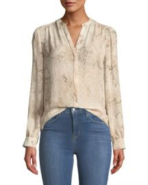L  x27 Agence Bardot Snakeskin-Print Silk Button-Front Blouse at Neiman Marcus